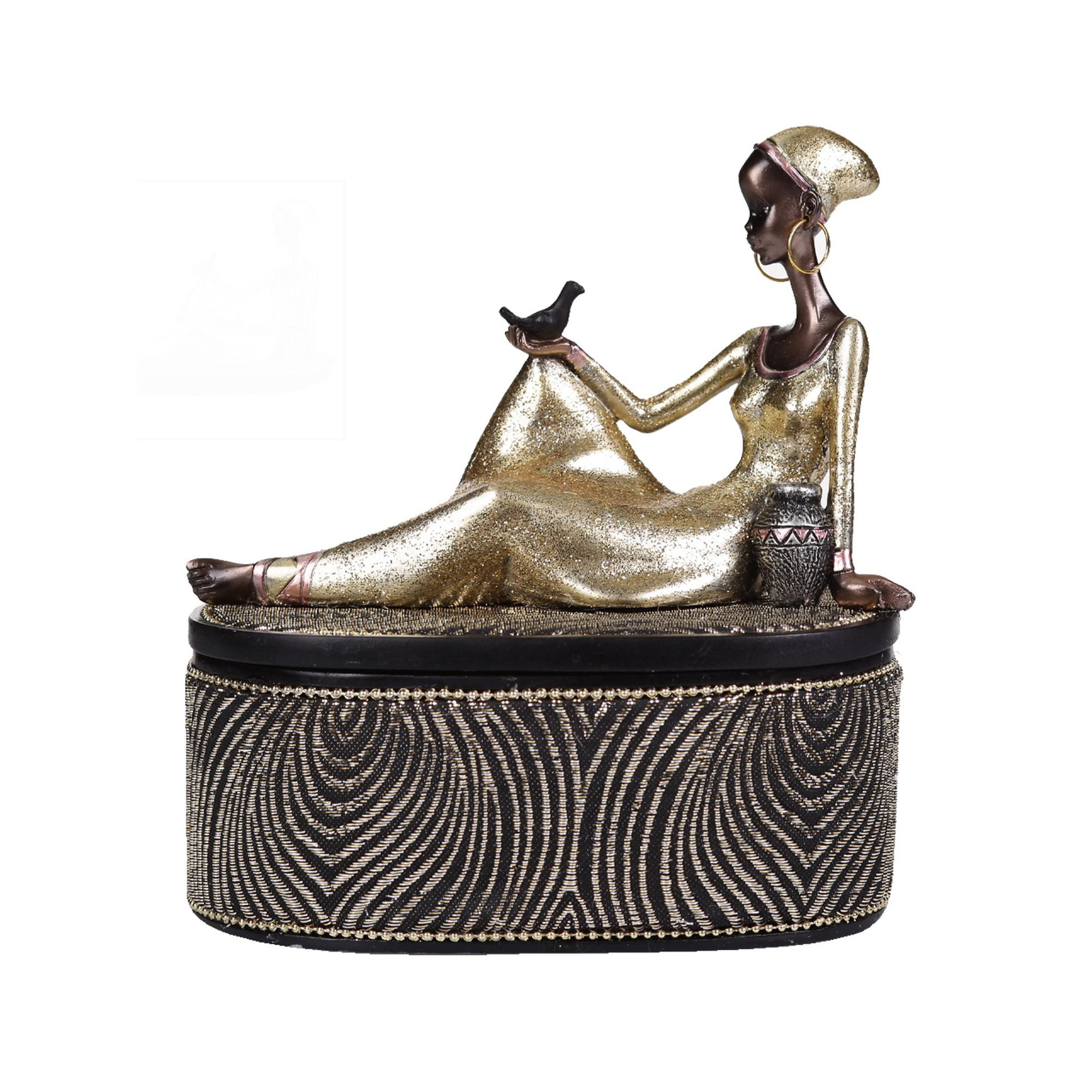 POLY SITTING AFRICAN LADY DÉCO - 559-02637